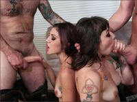 Hot foursome with tattooed chicks | Burning Angel Discount